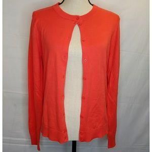 J Crew Red Cerise Button Up Cardigan 100% Cotton